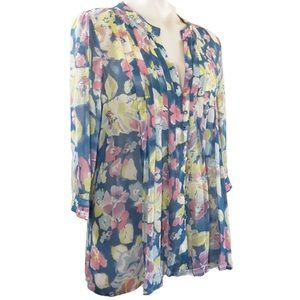 Joie Floral Silky sheer Tunic popover